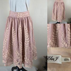 Eliza J Skirt Tulle Leaf Embroidered Skirt